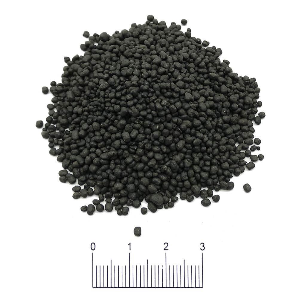 Vista de la tierra activa black de grano fino para plantas y gambas.